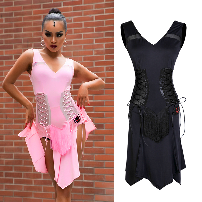 Latin Dance Dress Black Sexy Sleeveless Split Skirt Rumba Cha Cha Samba Dancing Women Practice Performance Clothes Wear DN3784 title=