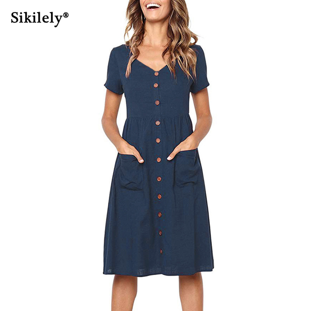 2ca88b9f08 Sikilely V Neck Short Sleeves Women Casual Dress Buttons Front Midi Simple Dresses  Below Knee Elastic Waist with Pockets