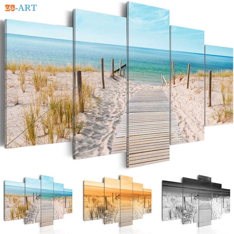 Meer Strand Landschaft Malerei Leinwand 5 Stücke Gras Poster Natur Wand  Kunst Modulare Bilder Für Wohnzimmer Wohnkultur