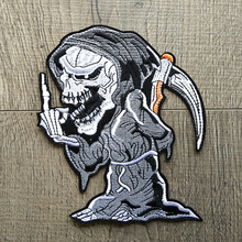 Cartoon Grim Reaper Skull Embroidered Patches for Clothing Iron on Clothes Motorcycle Biker Appliques Badge Stripes Stickers Diy