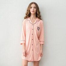 Nightdress Women Spring Three Quarter Sleepwear Shirt Polka Dot Style Nightgown Cotton Cardigan Lounge Thin Sleepshirts
