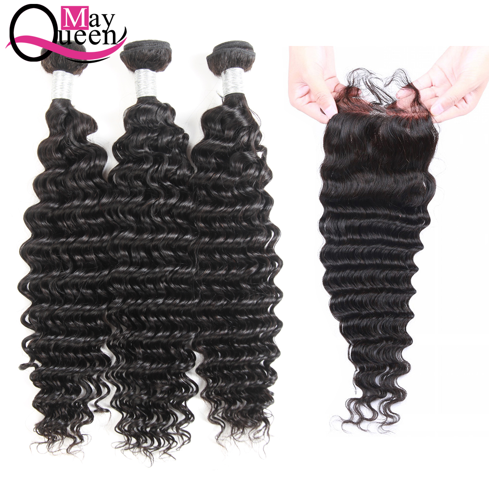 May Queen Hair Brazilian Deep Wave Human Hair Weave 3Bundles With Lace Closure Non Remy Hair Extensions Natural Black