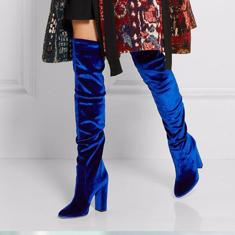 2017 Women Shoes Royal Blue Suede Thigh High Boots Fashion Pointed ...