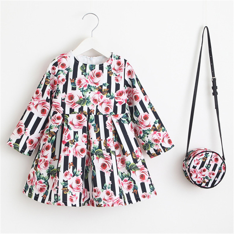 Long Sleeve Dress Girl Party Children Clothing Princess Dress with Bag 2018 Baby Clothes Kids Flower Dresses for Girls Costumes hot sale summer 2016 girl dress princess girls dress baby kids clothes long sleeve lace dresses wedding party children clothing