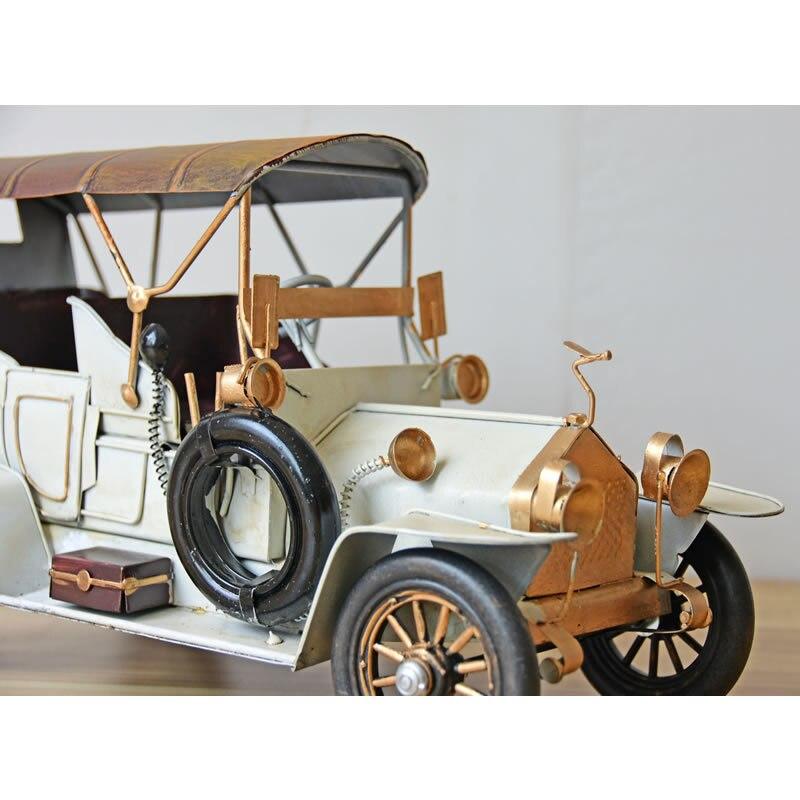 Vintage Vehicle Model Car Figurines Europe Style Metal Old Car Figurine Desktop Decoration Metal Crafts Birthday Gift - 4