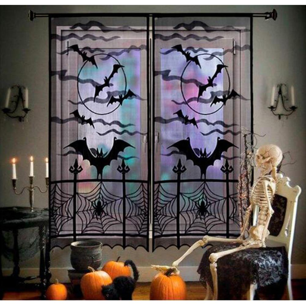 Halloween Curtains Ghosts Curtains Warp Lace Spider Web Bat Curtains 101x213cm Home Holiday Decoration Curtains
