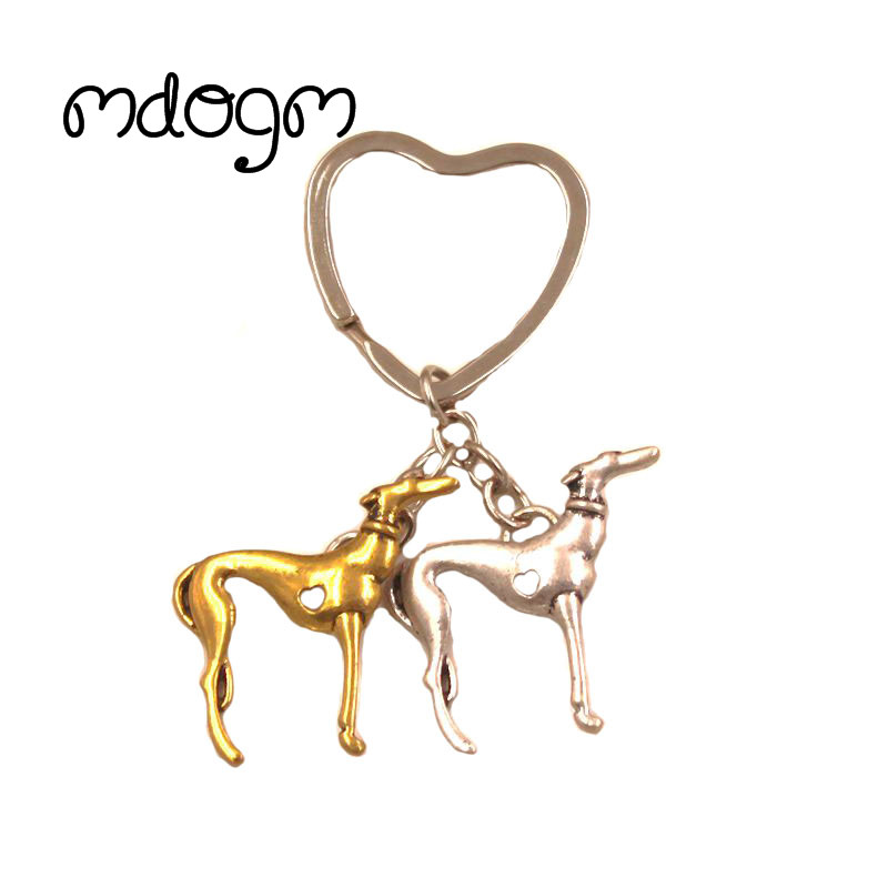 2018 New Cute Greyhound Dog Animal Gold Silver Plated Metal Pendant Keychain For Bag Car Women Men Key Ring Love Jewelry K137