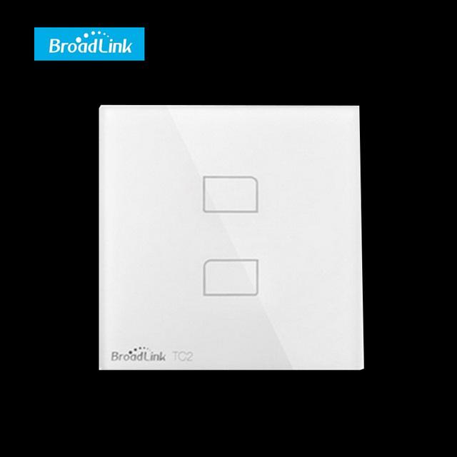 Eu/uk estándar tc2 2 gang broadlink wifi domótica inteligente interruptores de luz led de control remoto wifi interruptor de pared panel táctil