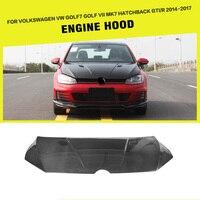 Car Styling Carbon Fiber Car Front Engine Bonnets Hood Cover for VW Golf VII MK7 GTI R Htachback 2014 2017