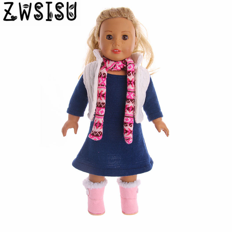 Collar Jacket Skirt Three-piece suit for 18inch American doll, suitable for 43CM doll, give your child the best birthda image