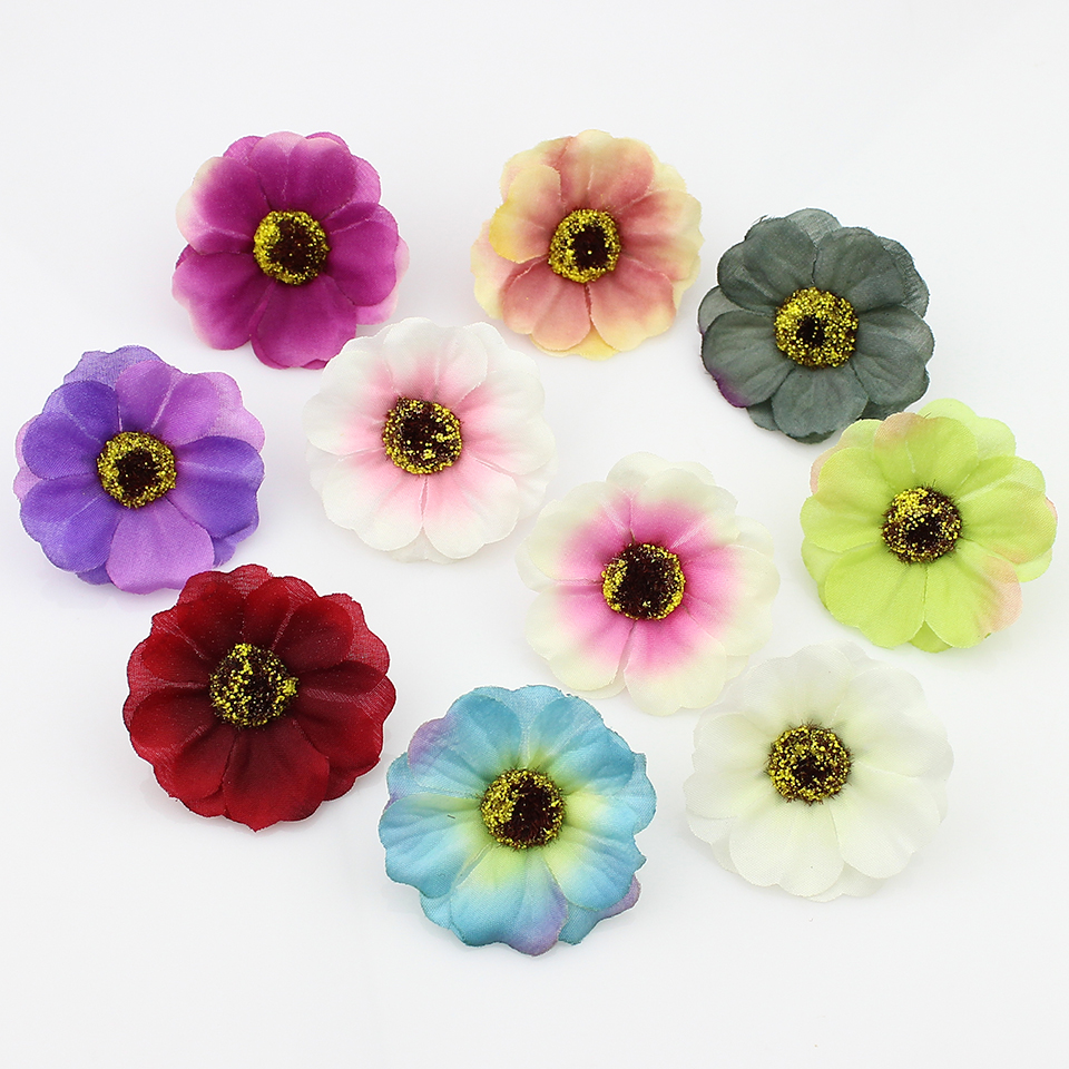 Flower heads for crafts - 5cm 20pcs Silk Artificial Cherry Blossoms Flower Heads Fake Flowers For Decoration Diy Craft Accessories
