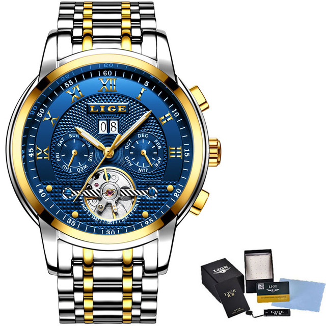 LIGE Mens Watches Top Brand Luxury Automatic Mechanical Watch Full Steel Business Waterproof Sport Watches
