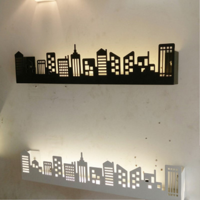 Modern Buildings Art Wall Light Individuality Creative Concise Iron Wall Light Bedroom Study Livingroom Decoration Lamp цена 2017