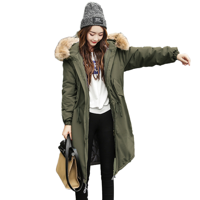 Real Fur Collar Hooded Winter Jacket Women Parka 2017 Down Cotton Padded Coat Slim Thick Warm Long Overcoat Female Parka QW751 women elegant winter warm long coat down padded jacket slim fur collar hooded parka coats 2017 female slim long parka with belt