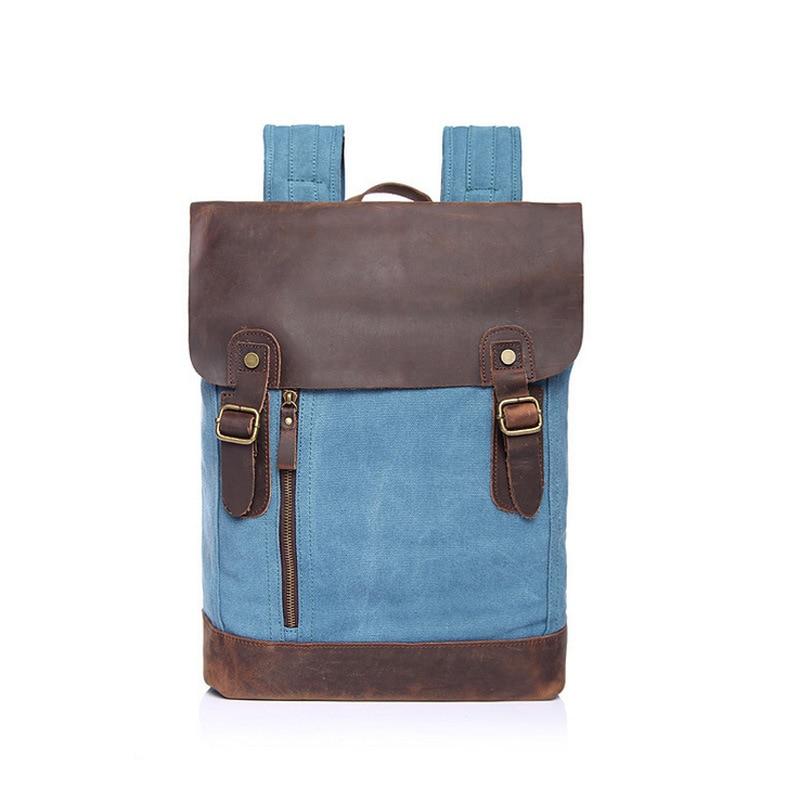 Men canvas Backpack men bag fashion Blue canvas leather lesion school backpack travel backpack