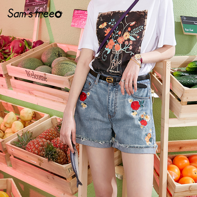 Samstree Summer Women Shorts High Waisted Flowers Embroidery Denim Shorts Pants Cuffs Edge Office Ladies Ripped Shorts 1920s