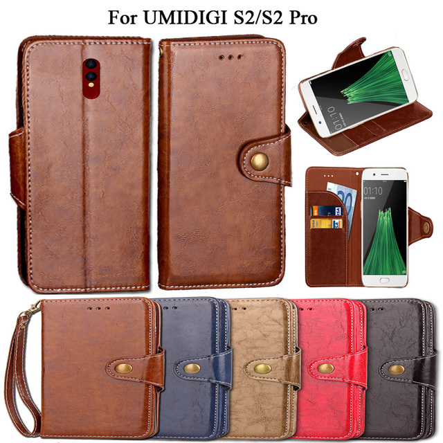 Luxury Flip Case For UMIDIGI S2 S2 Pro Case Cover Vintage PU Leather Wallet Kickstand Fundas Coque Cover With Lanyard