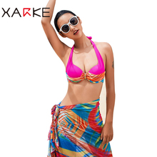 XARKE Women's Swimsuit Summer Sexy Bikini Push Up Backless Halter Bikini Sexy Slim Thin Women's Swimwear Beach Three-Piece Suits
