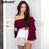 BeAvant Off Shoulder Cropped Sexy Blouse Shirt Women Flare Sleeve Pearls Blouse Casual Spring Female Chiffon