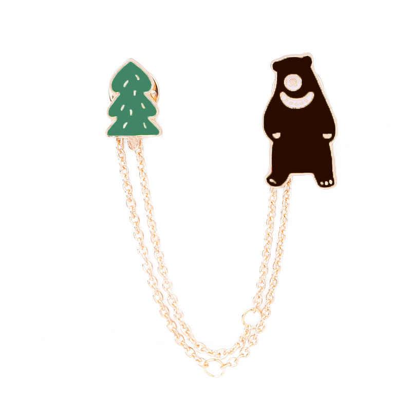 2018 Fashion gaya Baru Enam gaya astronot/hewan/Beruang gadis enamel animal planet bros wanita lencana pakaian pins grosir