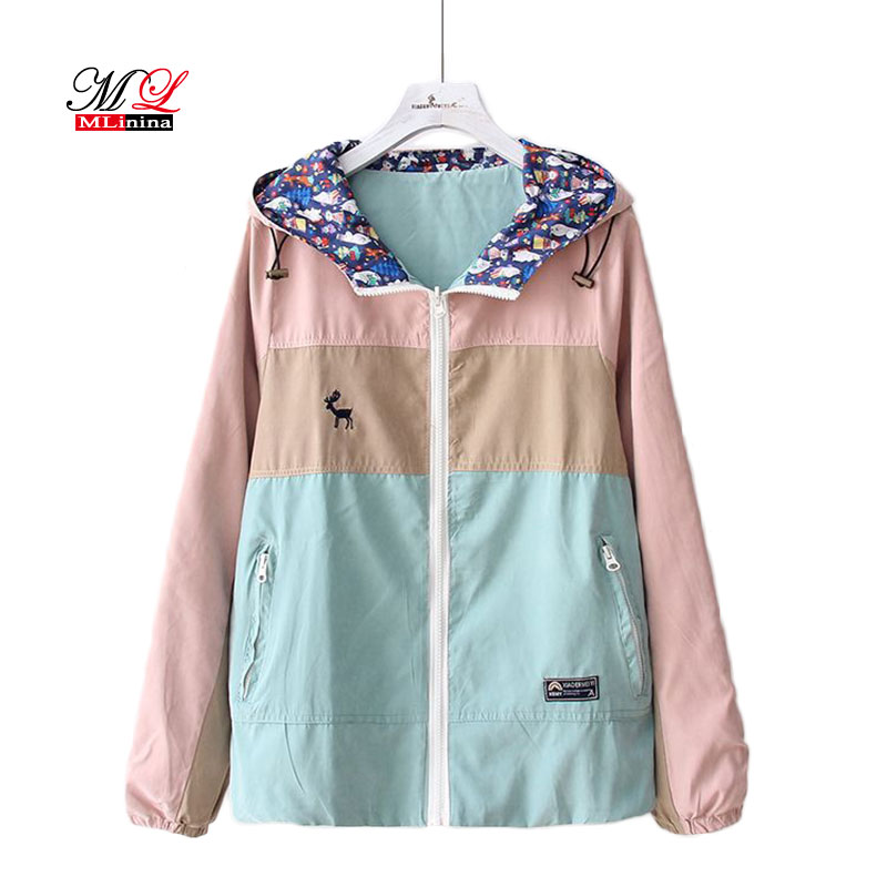 MLinina Harajuku Coats And   Jackets   Women Long Sleeve Two-sided Wear Patchwork Onesize Zipper Hooded   Basic     Jacket   Windbreaker