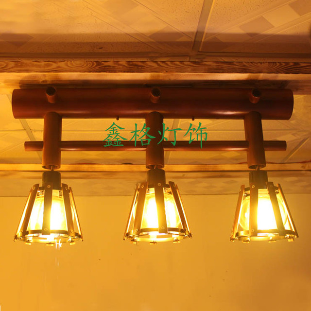 Lamp Bar Nara Prefecture Nara: Chinese Style Vintage Bamboo Glass Ceiling Light Living