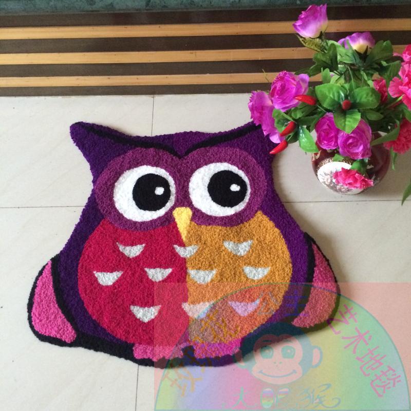 65 cm * 65 cm tapis hibou violet tapis fait main tapis de salle de bain Design hibou tapis de bande dessinée pour enfants tapis de sol antidérapant petit