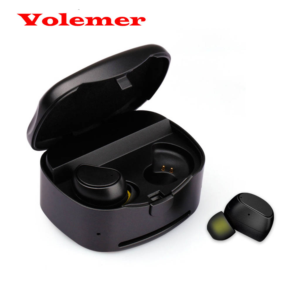 Volemer Twins True Wireless Bluetooth Earphone with Mic In-Ear Mini TWS Bluetooth Earbuds with Portable Charger for Phone Xiaomi twins true tws wireless bluetooth earphone stereo mini two earbuds portable handsfree in ear with charging socket box dock
