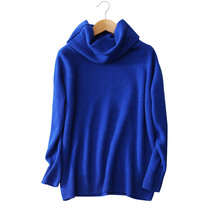100% cashmere solid color loose sweaters turn-down turtleneck long sleeve knitting pullovers women's winter clothings