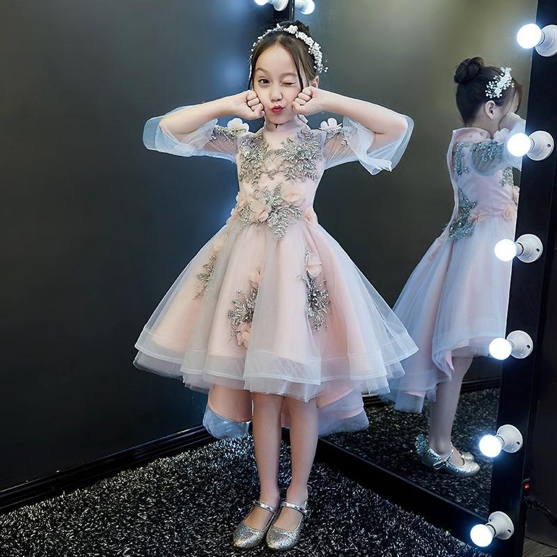 Romantic Flower Girl Wedding Bridesmaid Formal Lace Sleeveless O-neck Beading First Communion Dresses For Girls