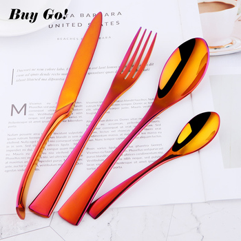 16/24 PCS Orange Red Cutlery Set Rainbow Gold Flatware Set 18/10 Stainless Steel Dinner Knife Fork Spoons Wedding Party Supplies