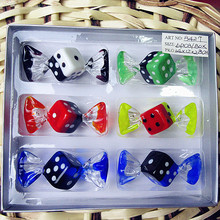 6pcs custom Antique Art Hand Blown Glass sweets creative dice sculpture Christmas decorative glass candy Jewelry Pendant gifts