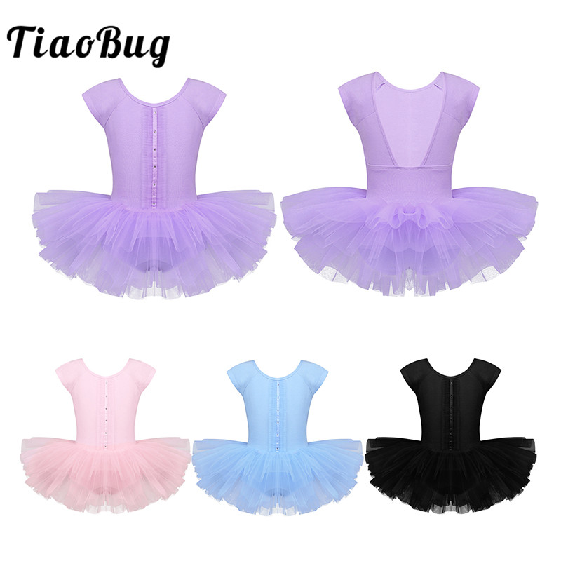 TiaoBug Girls Cap Sleeve Professional Ballet Tutu Leotard Dress Child Gymnastics Leotard Ballerina Party Kids Stage Dance Wear