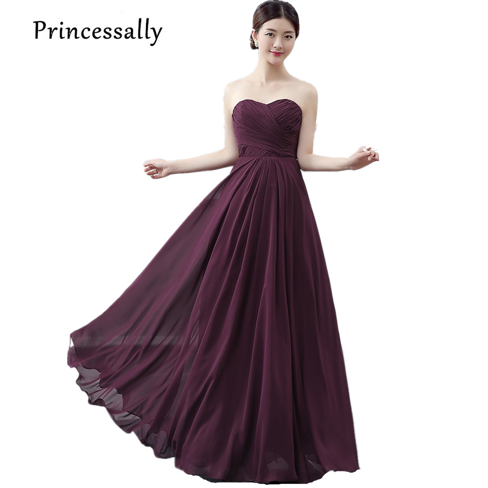 Online get cheap dark purple dress bridesmaid aliexpress princessally new bridesmaid dresses dark purple sweetheart pleat floor length formal cheap prom party gown custom color vestidos ombrellifo Image collections