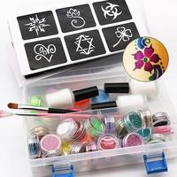 Tattoo Face Body Paint Set 118 Tattoo Patterns 6 Color Luminous Powder 24 Color Flash Powder Paint Brush and Glue Glowing Paint
