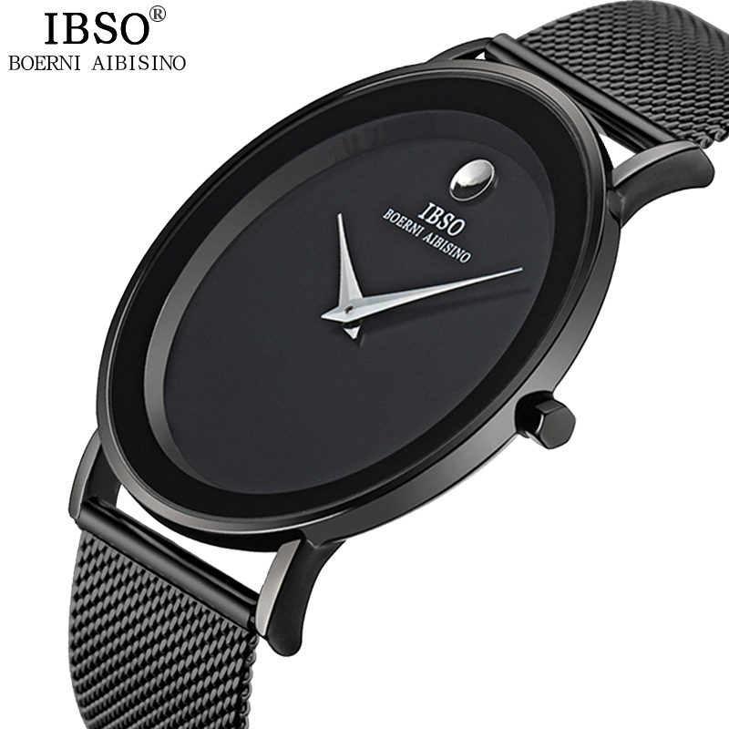 IBSO 6MM Ultra-thin Mens Watches 2017 Steel Mesh Strap Brand Quartz Wristwatches Fashion Simple Watch Men Relogio Masculino