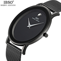 IBSO New 6MM Ultra thin Mens Watches 2018 Steel Mesh Strap Brand Quartz Wristwatches Fashion Simple Watch Men Relogio Masculino
