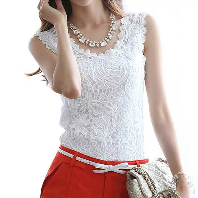 2017Sell like hot cakes Summer Women Blouse Lace Vintage Sleeveless White Renda Crochet Casual Shirts Tops Plus Size S M L XL XX