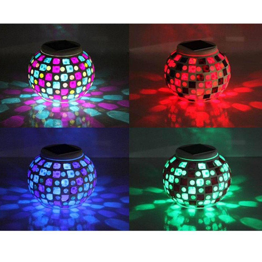 Solar Mosaic Glass Ball Light Rechargeable Waterproof LED Garden Lawn Jar Lights Outdoor Indoor Table Lamp Night Light 4 glass small clear ball paraffin oil lamp indoor outdoor