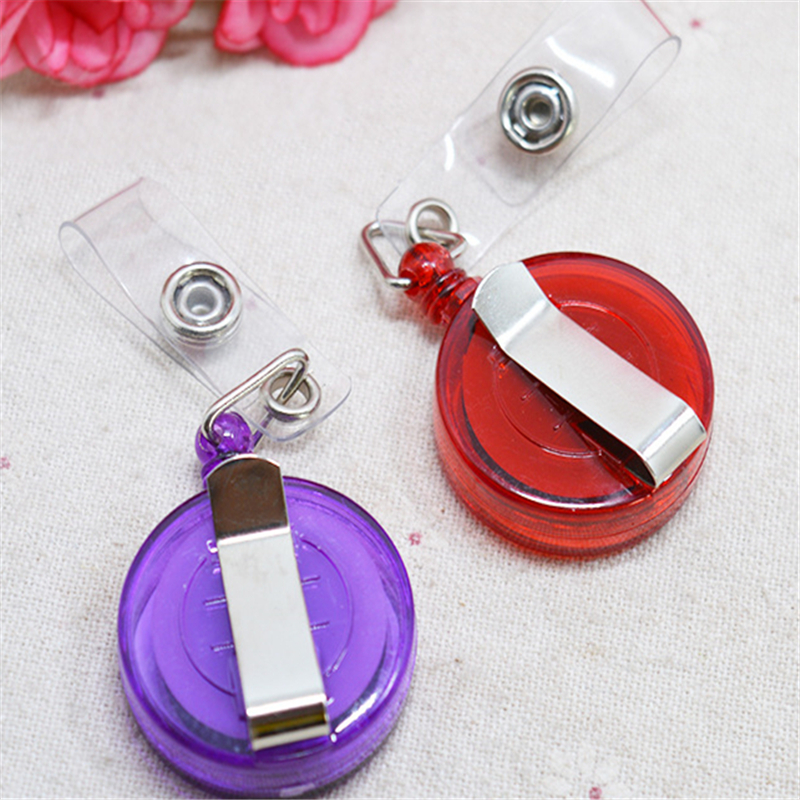 1 Pcs Retractable Ski Pass ID Card Badge Holder Reel Pull Key Name Tag Card Holders Recoil Reels For School Office Company