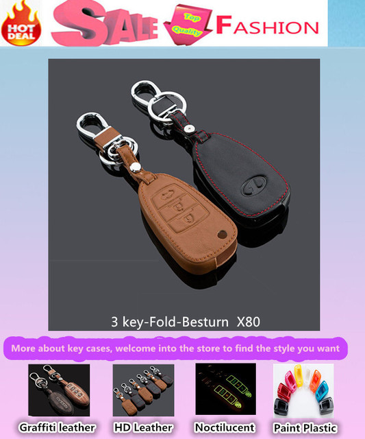 Top Quality car styling cover detector cow Leather keys bag cases chain Keychain intelligent/folding special for Besturn X80