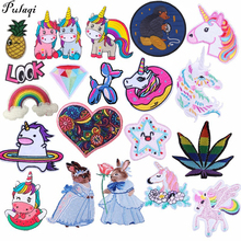 Pulaqi Unicorn Animals Parches Embroidery Iron on Patches for Clothing DIY Foods Stripes Clothes UFO Stickers Appliques H