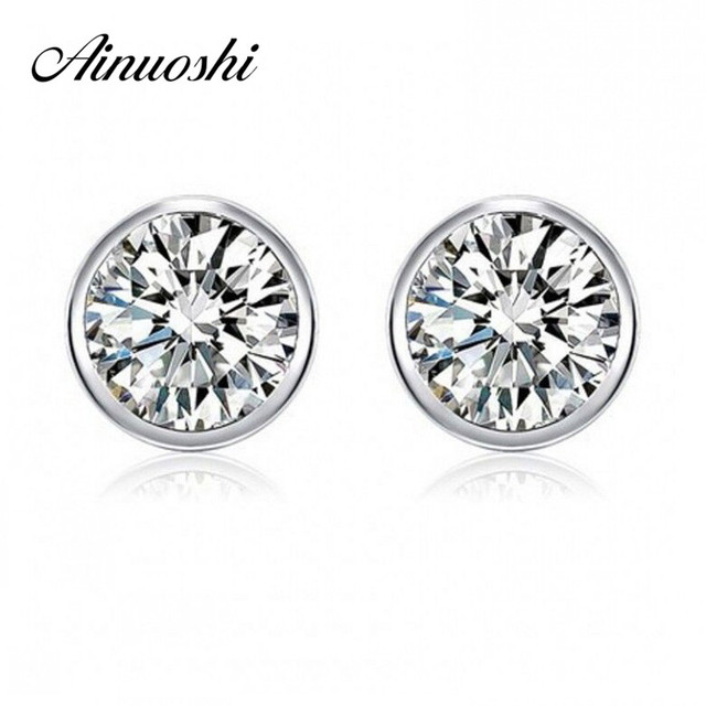 925 Sterling Silver Round Stud Earring For Woman Man White Sona Simulated Channel Brinco Jewelry