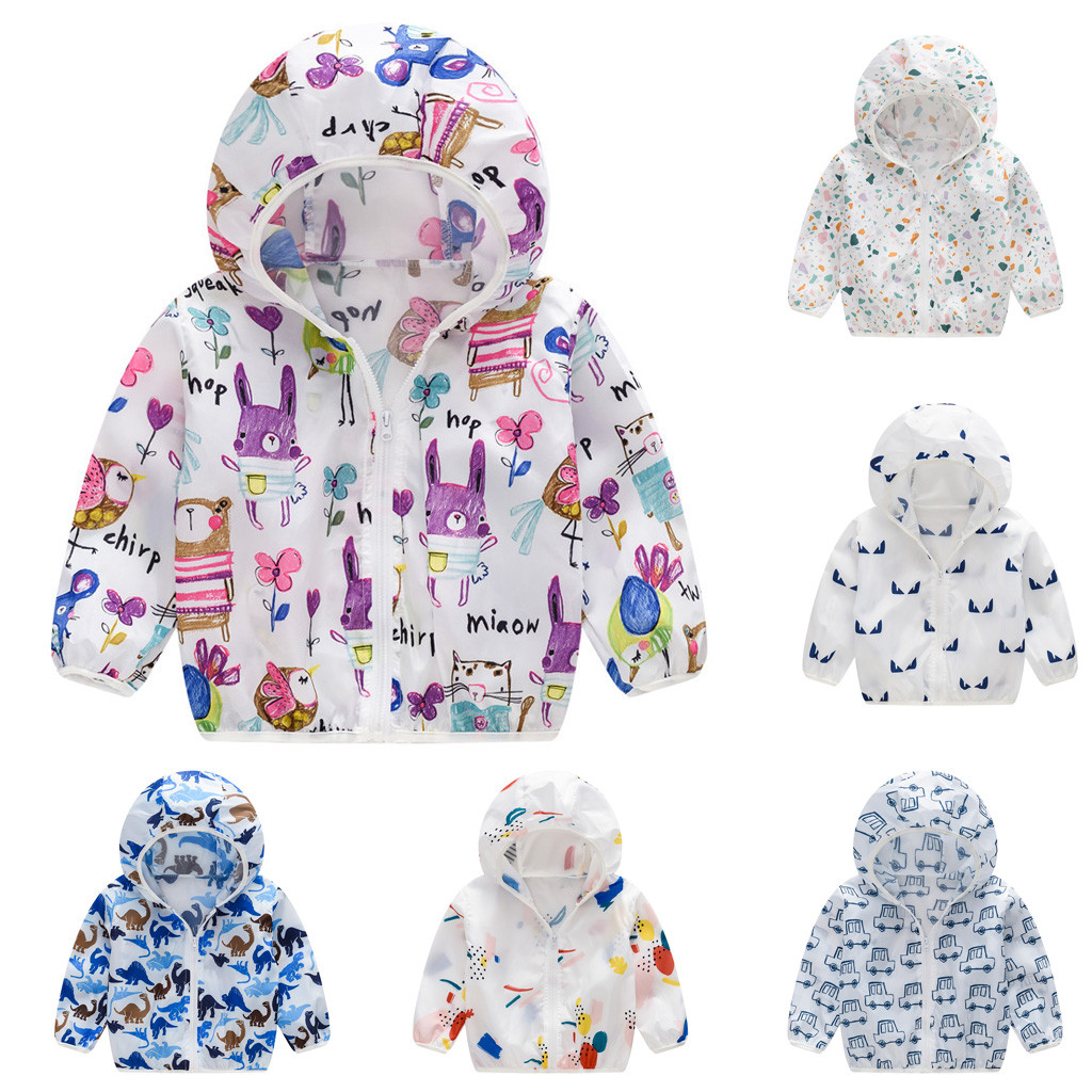 Boy Girl Cotton Blend Trench Coat for 1-6T Stylish Children Eyelash Print Bowknot Solid Hoodie Windproof Jacket