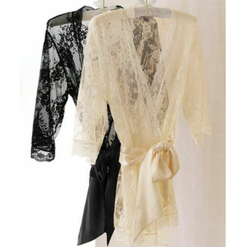 Hot Sale Lace  Hollow out  Sexy   Black .White Babydoll  Coat For Women