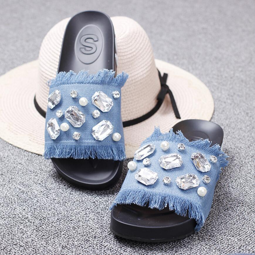 e796f062e792 Online Shop luxury crystal jeans flip flops women big rhinestone pearl  platform sandals tassel denim gladiator sandals women slippers y194