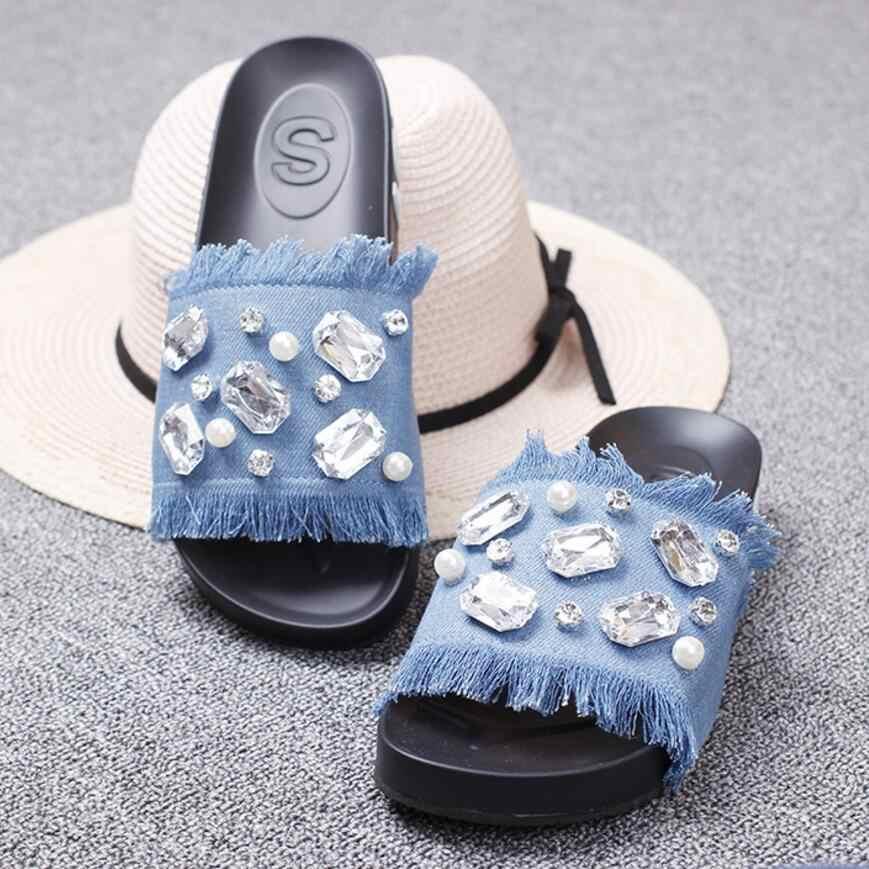 faec65281574f6 luxury crystal jeans flip flops women big rhinestone pearl platform sandals  tassel denim gladiator sandals women