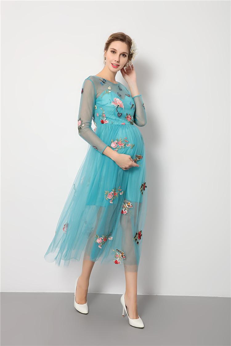 2017 Fashion Blue Embroidered Dress Pregnancy Photo Shoot Beach ...