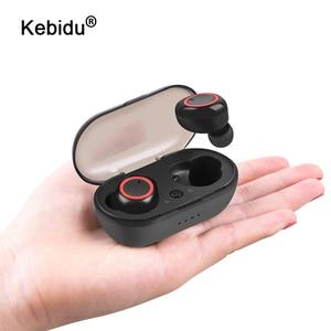 Image 1 - Kebidu TWS Bluetooth 5.0 אוזניות סטריאו אלחוטי אוזניות עמיד למים ספורט אוזניות דיבורית משחקי אוזניות עם מיקרופון עבור טלפון