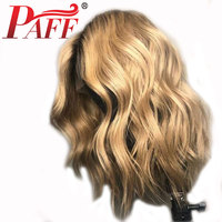 PAFF 1b/27# Blonde Silk Top Lace Front Remy Human Hair Wigs with Dark Roots For Women Glueless Ombre Color Lace Frontal Wigs